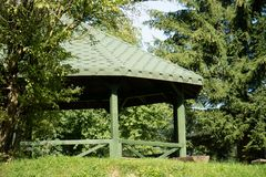 Leisure gazebo in the forest and garden. Season of autumn. September Month Stock Photography