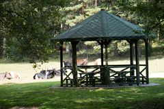 Leisure gazebo in the forest and garden. Season of autumn. September Month Royalty Free Stock Image