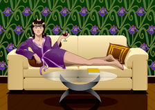 Girl Relaxing with Wine. A digital illustration featuring a girl relaxing at home with a glass of wine and a book Stock Photos