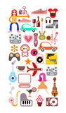Leisure and Hobby Collage. Art collage of leisure and hobby icons. Vector images  on white background Stock Images