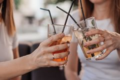 Free Leisure, Holidays, Eating, People And Food Concept - Happy Friends Having Dinner At Summer Garden Party And Clinking Drinks Stock Images - 155725794