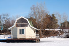 Leisure home floating. On a winter park Stock Image