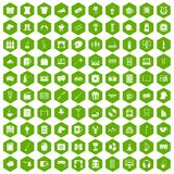 100 leisure icons hexagon green. 100 leisure icons set in green hexagon isolated vector illustration stock illustration