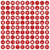 100 leisure icons hexagon red. 100 leisure icons set in red hexagon isolated vector illustration Stock Images