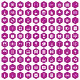 100 leisure icons hexagon violet. 100 leisure icons set in violet hexagon isolated vector illustration vector illustration