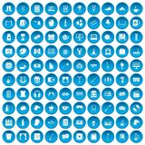 100 leisure icons set blue. 100 leisure icons set in blue circle isolated on white vectr illustration Royalty Free Illustration