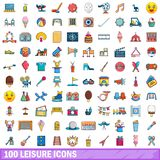 100 leisure icons set, cartoon style. 100 leisure icons set in cartoon style for any design vector illustration Stock Images