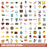 100 leisure icons set, flat style Stock Photos