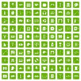 100 leisure icons set grunge green. 100 leisure icons set in grunge style green color isolated on white background vector illustration Stock Photos