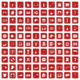 100 leisure icons set grunge red. 100 leisure icons set in grunge style red color isolated on white background vector illustration Stock Photos