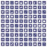 100 leisure icons set grunge sapphire. 100 leisure icons set in grunge style sapphire color isolated on white background vector illustration Royalty Free Stock Photography