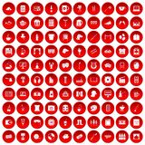 100 leisure icons set red. 100 leisure icons set in red circle isolated on white vectr illustration Stock Photos