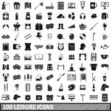 100 leisure icons set, simple style Stock Image