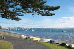 Leisure image of a row of boats parked along the coastline of Tauranga beach, New Zealand stock photography