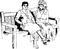 Leisure ladies. Sketchy drawing style illustration of two mature ladies stopping for a rest on a park bench Stock Photos