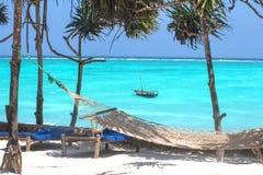 Leisure landscape with sunbeds Stock Photos
