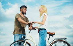 Leisure and lifestyle concept. Playful young man with his beautiful girlfriend on the love way. Young hippie couple on. Leisure and lifestyle concept. Playful royalty free stock photos