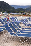 Leisure - Lounge Chairs on Deck of Cruise Ship Stock Images