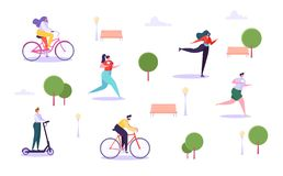 Free Leisure Outdoor Activities Concept. Active Characters Running In Park, Man And Woman Riding Bicycle, Girl Roller Skating Royalty Free Stock Images - 132621889