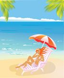 Leisure in paradise. Vector pictire of girl on tropical beach Royalty Free Stock Photos