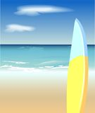 Leisure in paradise. Vector picture of surf board on tropical beach Royalty Free Stock Photos