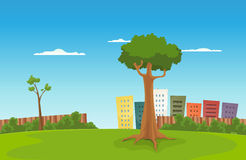 Leisure Park. Illustration of a cartoon urban green park with cityscape behind Stock Photos