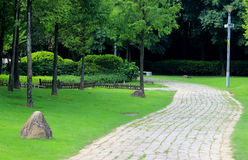 The leisure path in the park. Landscape, leisure and long path, natural plants and flowers and plants trees, beautify the environment Royalty Free Stock Image