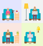 Leisure for Pensioners, Reading Newspaper, Knitting, Using Internet. Home Interior Background. Illustration Vector Stock Image