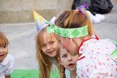 Leisure of preschool children. Animators at a children's party. Acting and developing games for children. Village Poltavskaja, Russia - September 8, 2017 Royalty Free Stock Photo
