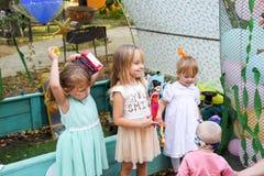 Leisure of preschool children. Animators at a children's party. Acting and developing games for children. Village Poltavskaja, Russia - September 8, 2017 Stock Image