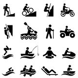 Leisure and recreational activities icons stock illustration