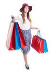 Leisure relaxation concept with young happy female doing shopping Royalty Free Stock Images
