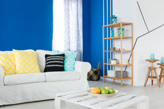 Leisure room with sofa. Colorful decorated leisure room with white stylish sofa Stock Photography