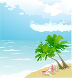 Leisure in the sea. Vector pictire on tropical beach Royalty Free Stock Photo