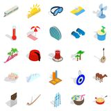 Leisure at sea icons set, isometric style. Leisure at sea icons set. Isometric set of 25 leisure at sea vector icons for web isolated on white background Royalty Free Stock Photo