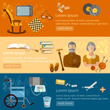 Leisure of seniors banners pension hobbies retirement home. Vector illustration Royalty Free Stock Photos
