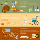 Leisure of seniors banners retirement home pension hobbies. Social care vector illustration Stock Images