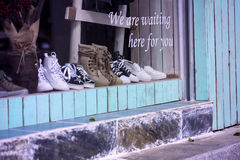 Leisure shoes in the window Royalty Free Stock Image
