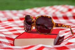 Leisure in summer. Woman's sunglasses on the book, close up Stock Images
