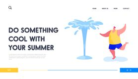 Free Leisure, Summertime Relax, Fun Landing Page Template. Happy Man Splashing With Water In Hot Summer Time Stock Images - 185958404