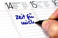 Leisure time. Calendar with german Zeit für mich Royalty Free Stock Image