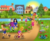 Leisure time activities, walking through the park, running and having fun royalty free illustration