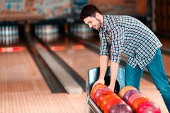 Leisure time in bowling club Stock Photography