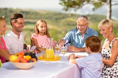 Leisure time for family. In garden royalty free stock images