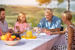 Leisure time - family playing cards Royalty Free Stock Photography