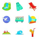 Leisure time icons set, cartoon style Royalty Free Stock Images