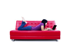 Leisure time with laptop Stock Image