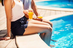 Leisure time poolside. Royalty Free Stock Photography