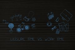 Groups of mixed leisure and office-related objects. Leisure time vs work time: groups of mixed hobby and office-related objects Royalty Free Stock Photos