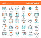 Leisure and Tourism. Vector set of leisure and tourism flat line web icons. Each icon with adjustable strokes neatly designed on pixel perfect 48X48 size grid Royalty Free Stock Photography